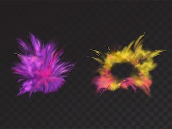 Vector 3d realistische explosie van het verfpoeder op een zwarte achtergrond