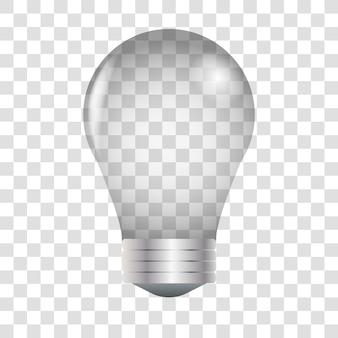 Vector 3d-realistische inschakelen gloeilamp pictogram close-up geïsoleerd op transparant. het effect van licht. het symbool van creativiteit en ideeën.