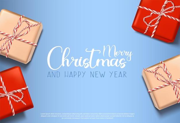 Vector 3d-realistische kerstachtergrond met geschenkdozen