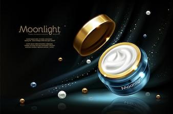 Vector 3d realistische kosmetische reclamespot omhoog - nachtroom in kruik