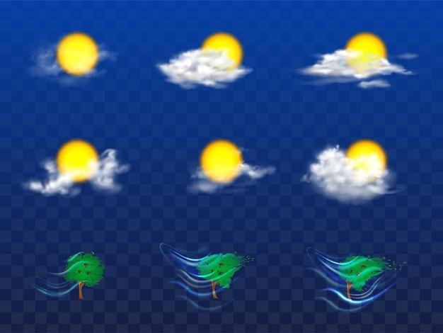 Vector 3d-realistische set met weersvoorspelling elementen