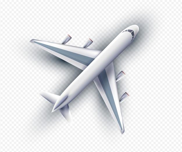 Vector 3d-realistische vliegtuig, bovenaanzicht. realistisch vliegtuig geïsoleerd met transparante schaduwen, bovenaanzicht. vector eps10