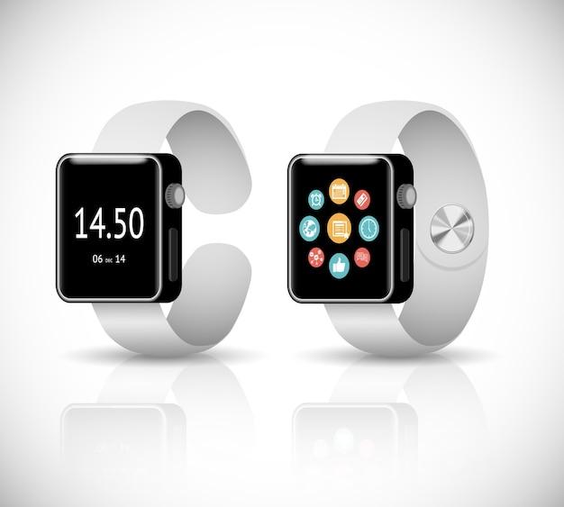 Vector 3d slimme horloge op witte achtergrond