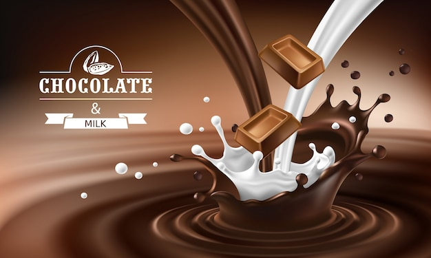 Vector 3d spatten van gesmolten chocolade en melk met vallende stukjes chocoladerepen.
