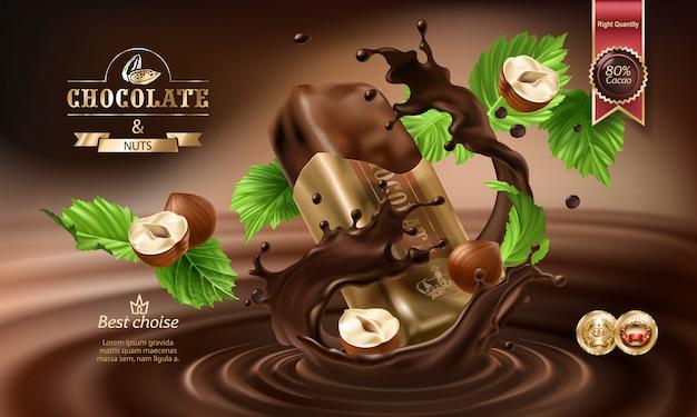 Vector 3d-spatten van gesmolten chocolade en melk met vallende stukjes chocoladerepen.