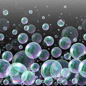 Vector 3d zeep transparante bubbels