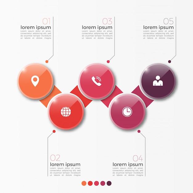 Vector 5 optie infographic sjabloon met cirkels voor presentatie