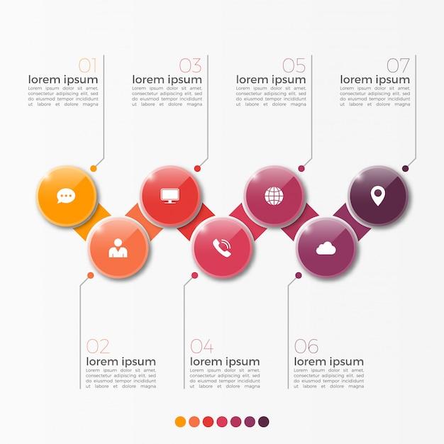 Vector 7 optie infographic sjabloon met cirkels voor presentatie