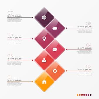 Vector 7 optie infographic sjabloon met vierkanten
