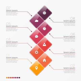Vector 8 optie infographic sjabloon met vierkanten