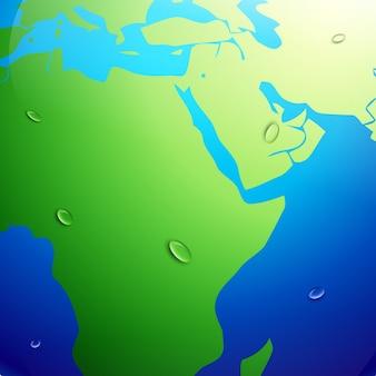 Vector aarde kaart met aardverwarming effect