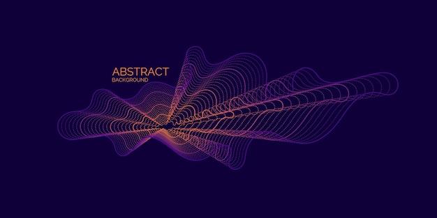 Vector abstracte achtergrond met dynamische golven, lijn en deeltjes. illustratie geschikt voor ontwerp Premium Vector