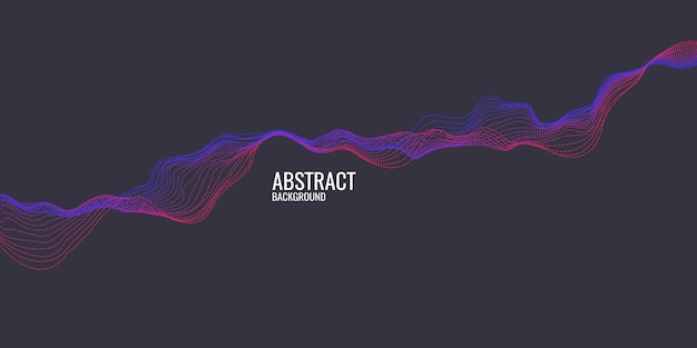 Vector abstracte achtergrond met dynamische golvenlijn en deeltjes Premium Vector