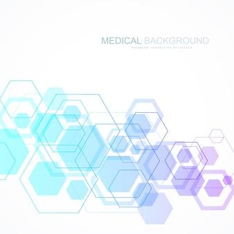 Vector abstracte achtergrond zeshoekige moleculaire structuren in technische achtergrond en wetenschap stijl. medisch ontwerp. vector illustratie.