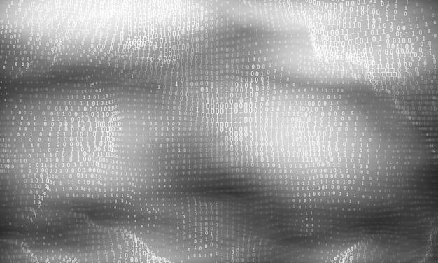 Vector abstracte big data-visualisatie. gloeiende gegevensstroom in grijswaarden als binaire getallen. computercode weergave. cryptografische analyse, hacken.