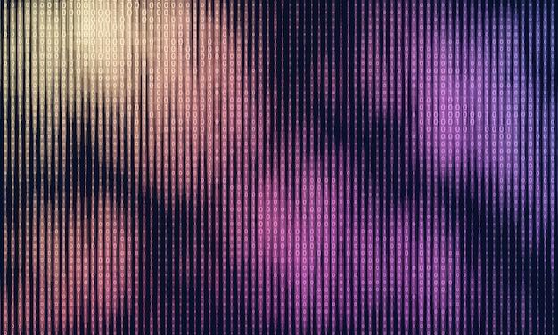 Vector abstracte big data-visualisatie. kleurrijke gegevensstroom als tekenreeksen met binaire getallen. computercode weergave. cryptografische analyse, hacken. bitcoin, blockchain-overdracht. programmeer code patroon