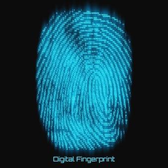 Vector abstracte binaire vertegenwoordiging van vingerafdruk. cyber thumbprint blauw patroon samengesteld uit getallen met gloed. biometrische identiteitsverificatie. futuristische sensor scan afbeelding. digitaal dactylogram.