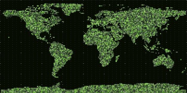 Vector abstracte binaire wereldkaart.