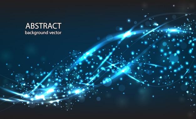 Vector abstracte blauwe motie lichteffect achtergrond. samenstelling wazige deeltjes en heeft felle lichten.
