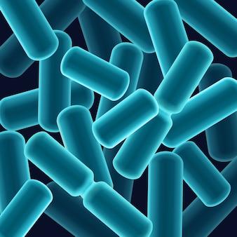 Vector abstracte blauwe staafvormige bacillen bacteriën close-up bovenaanzicht