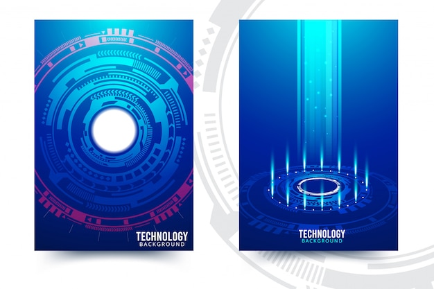 Vector abstracte futuristische printplaat, donkerblauwe de kleurenachtergrond van de illustratie hoge computertechnologie