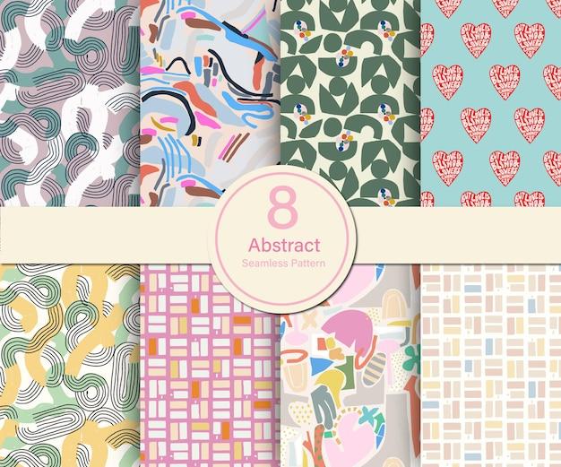 Vector abstracte hedendaagse vormen thema illustratie 8 soorten herhalen patroon collectie set k