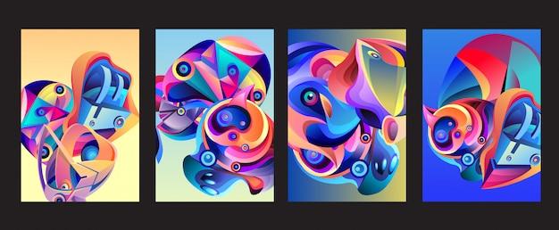 Vector abstracte kleurrijke geometrische curvy-patroon achtergrondreeks