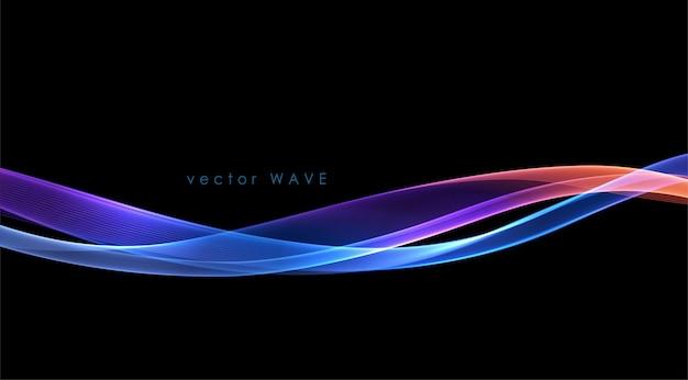 Vector abstracte kleurrijke vloeiende golflijnen die op zwarte achtergrond worden geïsoleerd
