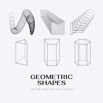 Vector abstracte moderne set geometrische pictogram ontwerp in trendy lineaire stijl