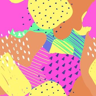 Vector abstracte naadloze patroon kleurrijke hand getekende elementen papier collage