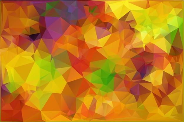 Vector abstracte oranje achtergrond van herfst of herfst. wallpaper van weer met esdoorn bladeren in laag poly stijl. vectorillustratie in zacht gekleurd. natuur achtergrond. ecologieconcept voor grafisch ontwerp