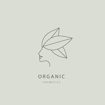 Vector abstracte organische eco natuurlijke zorg lijn logo vrouw gezicht met bladeren vrouwelijke spa zorg
