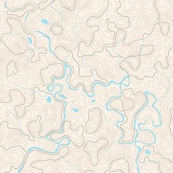 Vector abstracte topografiekaart met rivier en meren