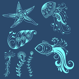 Vector abstracte zeeschepsels in indiase mehndi stijl. abstracte henna bloemen vector illustratie. ontwerpelement.
