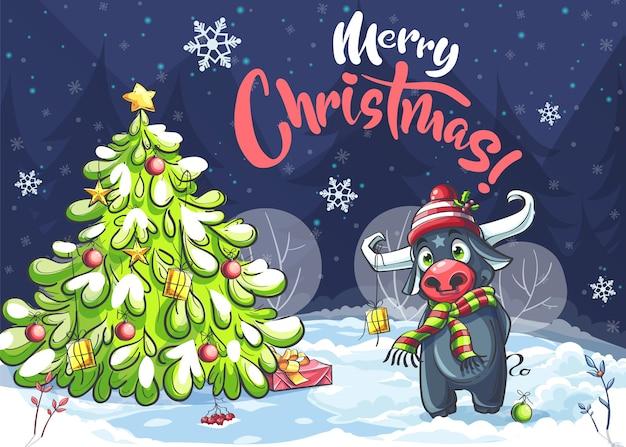 Vector achtergrond afbeelding trouwen kerstboom en stier