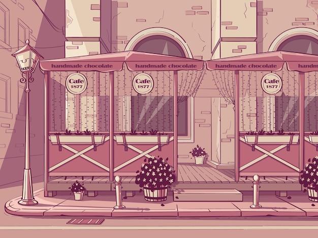 Vector achtergrond chocoladewinkel. afbeelding van handgemaakte chocolade café in roze kleur.