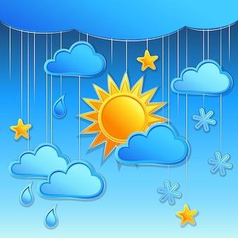 Vector achtergrond met dag weerpictogram