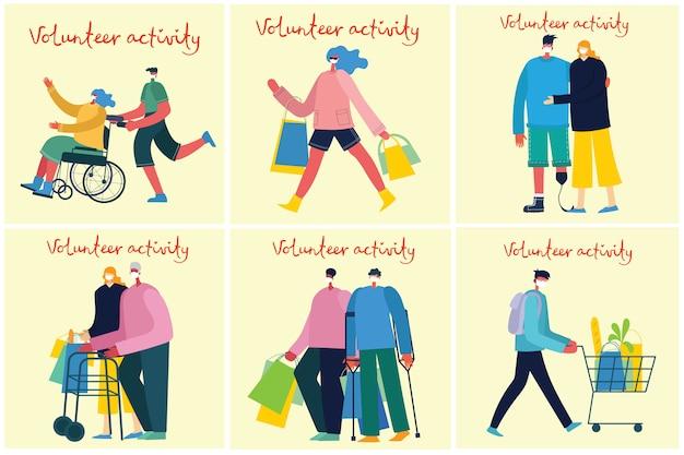 Vector achtergronden met gehandicapten, invaliden en mannen en vrouwen helpen. wereld zonder grenzen. platte stripfiguren.