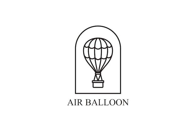 Vector aerostate lijn pictogram luchtballon lijn pictogram. minimalistische vliegreizen vector logo sjabloon.