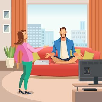 Vector afbeelding van een ontspannende home-omgeving.