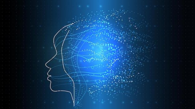 Vector afbeelding van kunstmatige intelligentie in de vorm van een lichtgevend menselijk hoofd. eps 10