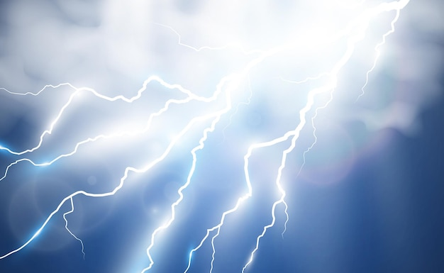 Vector afbeelding van realistische bliksemflits van donder op een transparante achtergrond