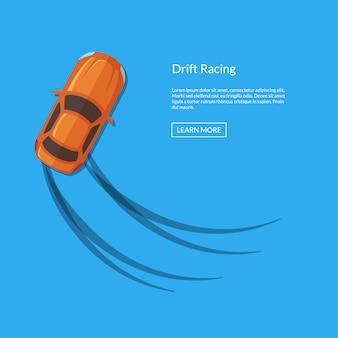 Vector afdrijvende auto bovenaanzicht met bandensporen illustratie