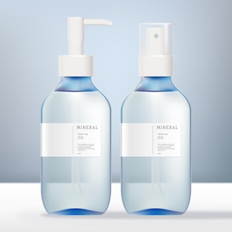 Vector alcohol haar shimmer geur antibacteriële aroma water spray of pomp fles en hand