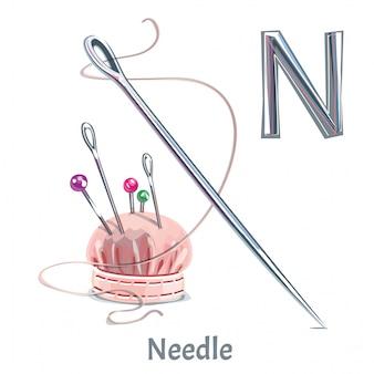 Vector alfabet brief n. needle