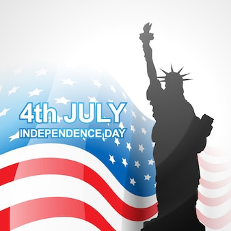 Vector amerikaanse vlag met standbeeld van vrijheid