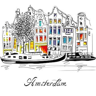 Vector amsterdamse gracht en typisch nederlandse huizen Premium Vector