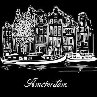 Vector amsterdamse gracht en typisch nederlandse huizen