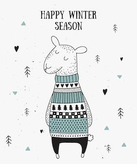 Vector ansichtkaart met schattige winterschapen in gezellige trui