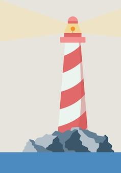 Vector ansichtkaart van een eenvoudig landschap van een vuurtoren in de oceaan op een achtergrond van rotsen sjabloon